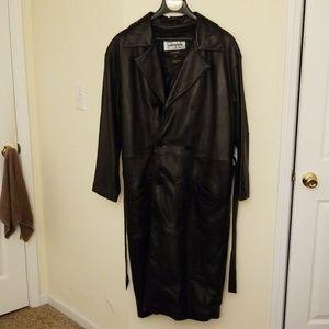 Full Length Leather Coat - Mens Large